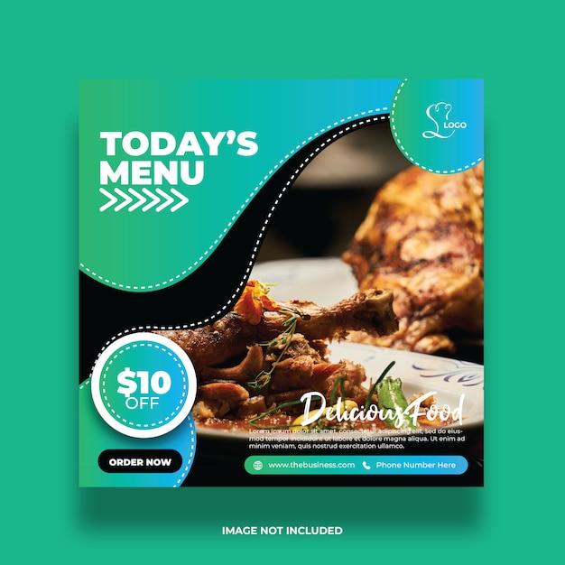 Délicieux Résumé Du Menu D'aujourd'hui Alimentaire Médias Sociaux Poster Modèle De Promotion Coloré Vecteur Premium