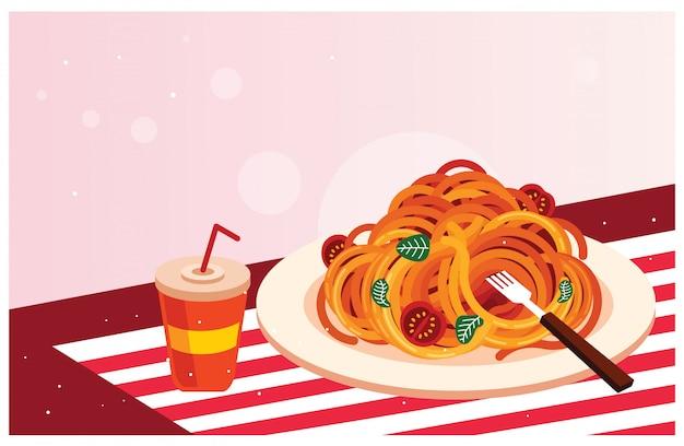 Délicieux spaghettis avec boisson illustration vectorielle Vecteur Premium