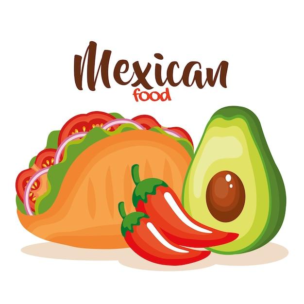 Délicieux tacos mexicain aux légumes Vecteur Premium