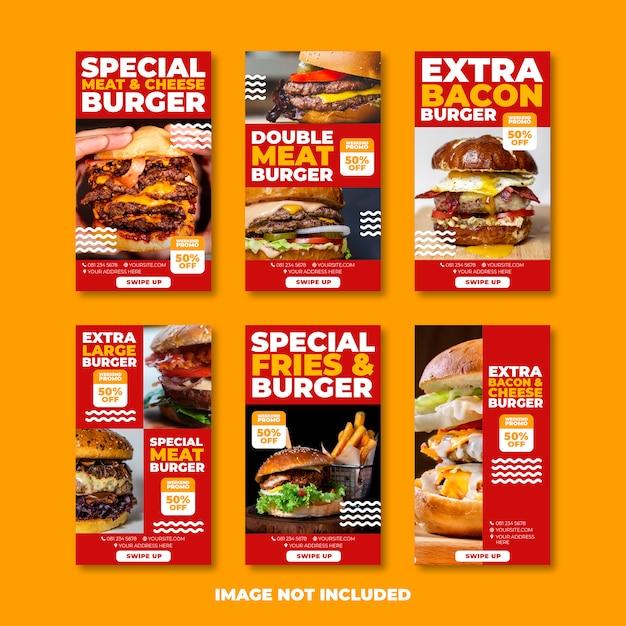 Delicious Burger Instagram Story Or Banner Template Vecteur Premium