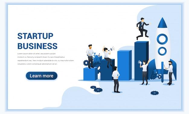 Démarrage Du Concept D'entreprise. Homme Affaires, Courant, Fusée, Monter, Leur, Objectif Illustration Vecteur Premium