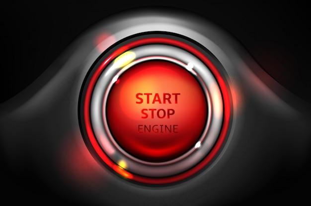 Démarrer et arrêter l'illustration du bouton d'allumage du moteur de la voiture. Vecteur gratuit