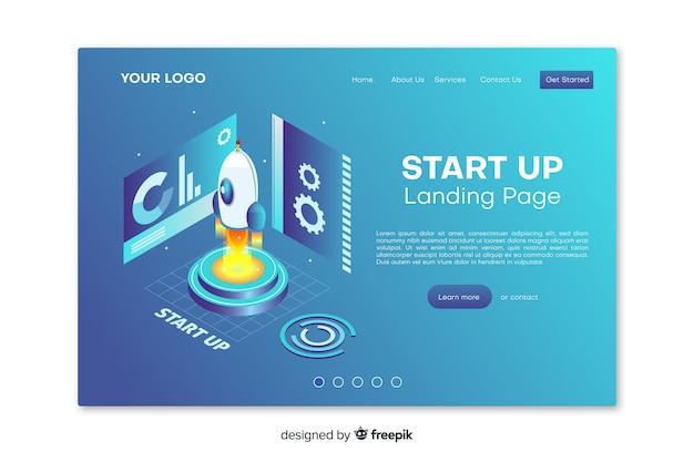 Démarrer la page de destination avec un design plat Vecteur gratuit