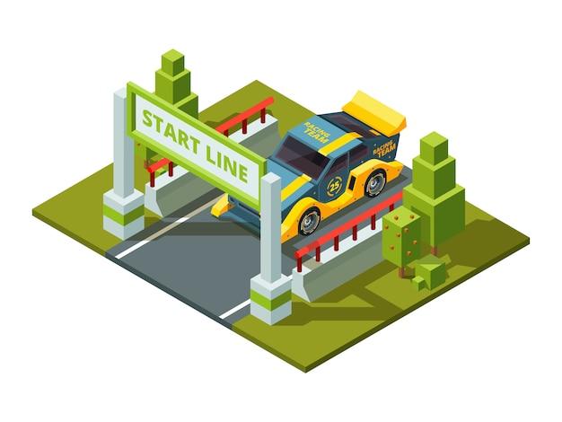 Démarrer des voitures de course. sport isométrique en style cartoon Vecteur Premium