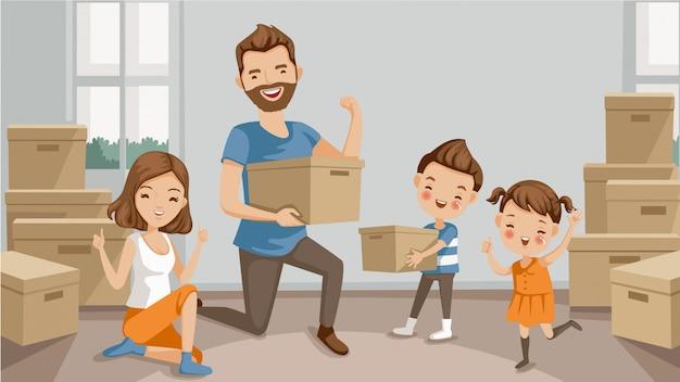 Déménagement. famille déplaçant des boîtes d'emballage et de déballage. Vecteur Premium