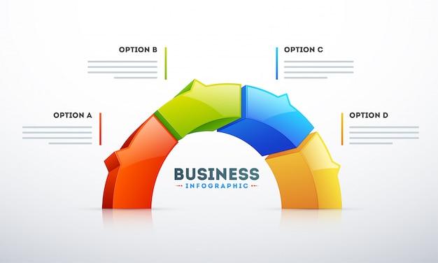 Demi-cercle 3d avec quatre options pour le modèle d'infographie métier Vecteur Premium