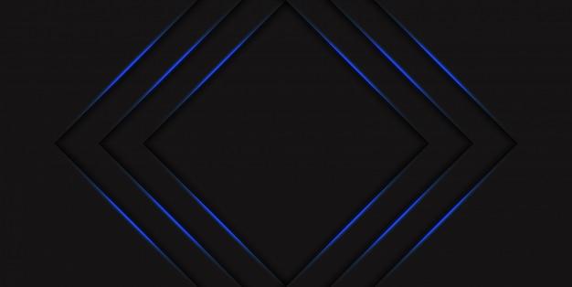 Demi-teinte Triangle Bleu Abstrait Avec Des Flèches Rougeoyantes De Néon Bleu Dégradé. Salut Concept Technologique Avec Des Lignes Brillantes. Modèle Pour Bannière Ou Poster Vecteur Premium