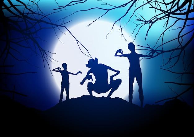 Des démons d'halloween contre un ciel éclairé par la lune Vecteur gratuit