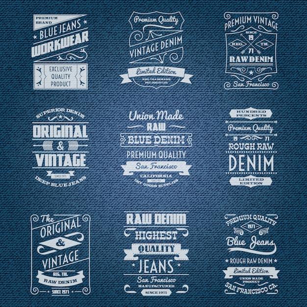 Denim jeans étiquettes blanches de typographie Vecteur gratuit