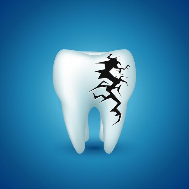 Dent Sur Bleu Malade Vecteur Premium