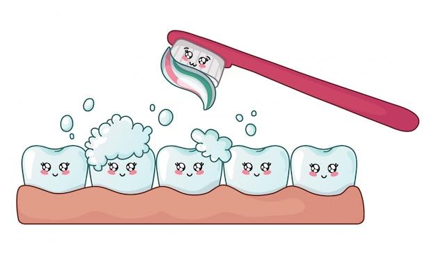 Dent kawaii propre et brillante avec de la mousse de savon et une brosse à dents Vecteur Premium