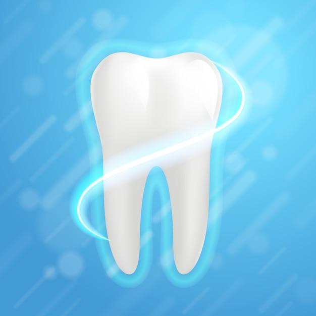 Dent molaire blanche élément graphique pour dentiste. dent humaine réaliste. Vecteur Premium