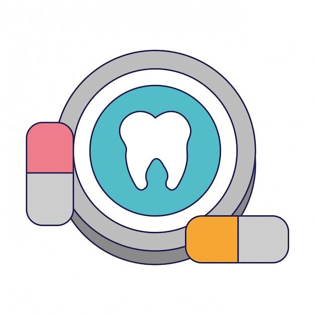 Dent ronde icône avec des pilules Vecteur Premium