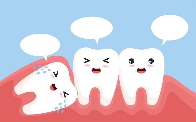 La Dent De Sagesse Pousse Une Autre Dent. Caractère De Dent De Sagesse Impacté Poussant Les Dents Adjacentes Provoquant Une Inflammation, Des Maux De Dents, Des Douleurs Aux Gencives. Vecteur Premium
