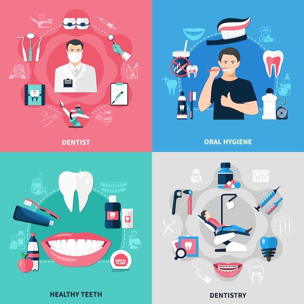 Dental 2x2 concept Vecteur gratuit