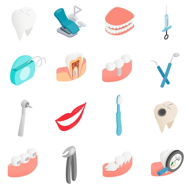 Dental Set Icons Vecteur Premium