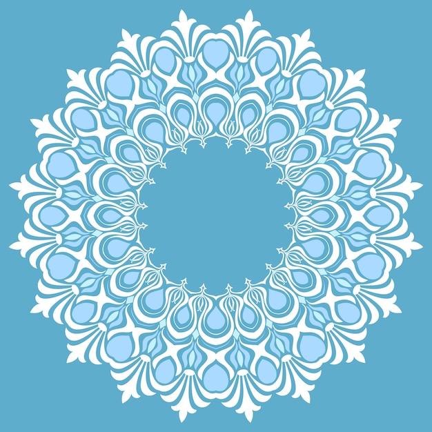 Dentelle ronde ornementale vectorielle avec des éléments damasques et arabesques. mehndi style. orienter l'ornement traditionnel. ornement floral de couleur ronde zentangle. Vecteur gratuit