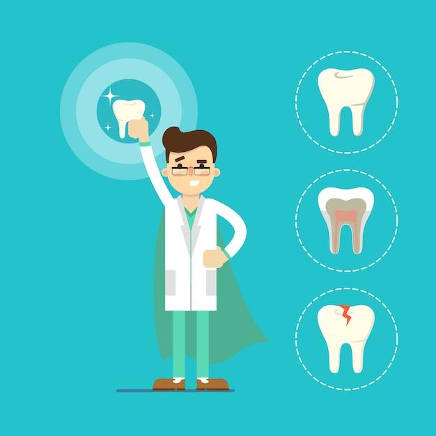 Dentiste dent Vecteur Premium