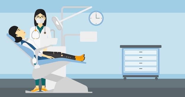 Dentiste et femme en fauteuil de dentiste. Vecteur Premium