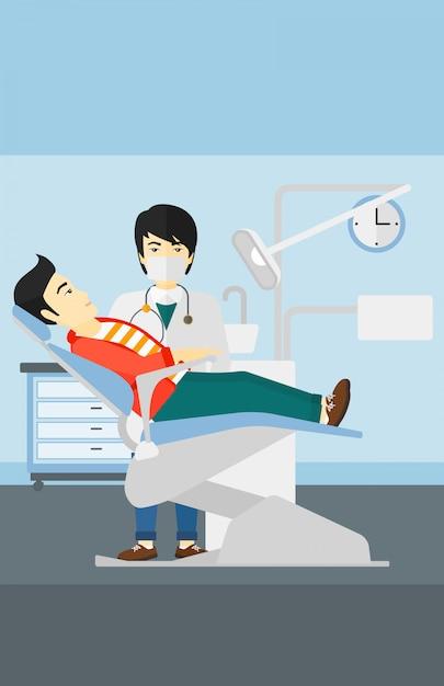 Dentiste et homme en fauteuil de dentiste. Vecteur Premium