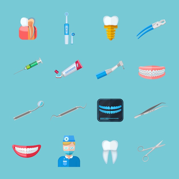 Dentiste Isolé Des Icônes Plats Vecteur gratuit