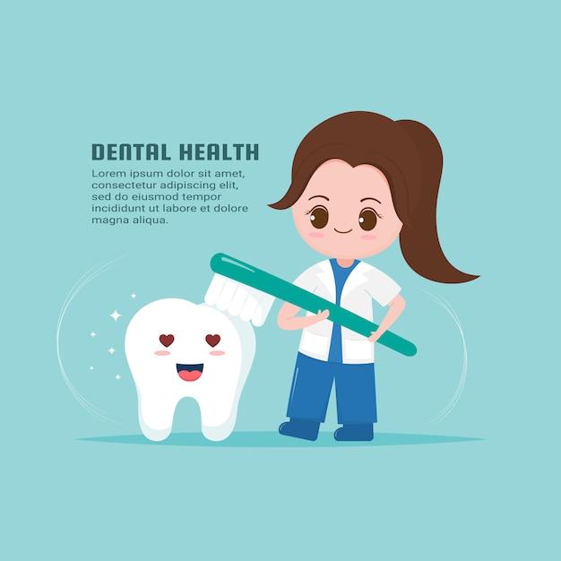 Dentiste mignon avec modèle de santé des dents Vecteur Premium