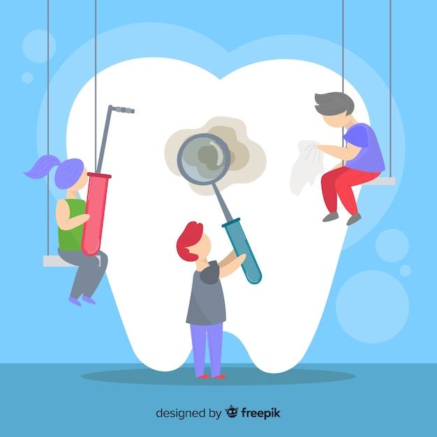 Dentiste plat prenant soin d'un fond de dent Vecteur gratuit