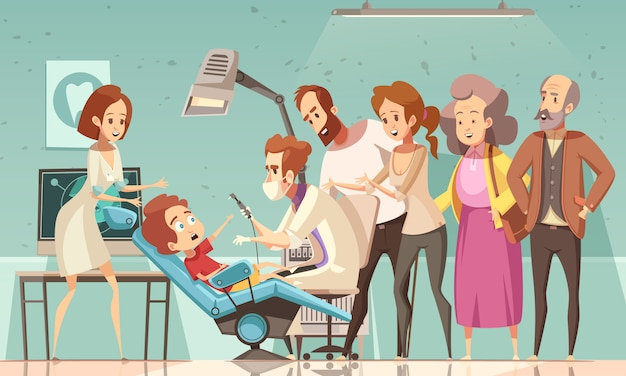 Dentiste, traitement, illustration enfant Vecteur gratuit