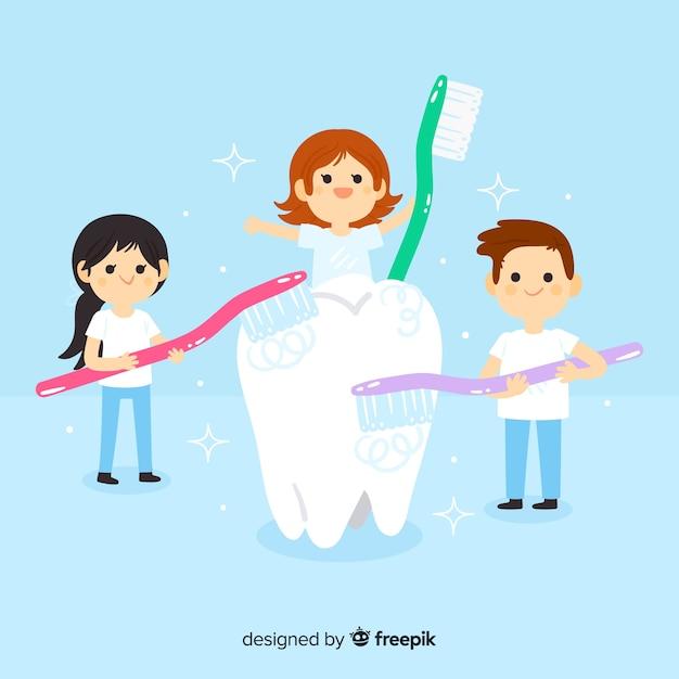 Dentistes plats prenant soin d'un concept de dent Vecteur gratuit