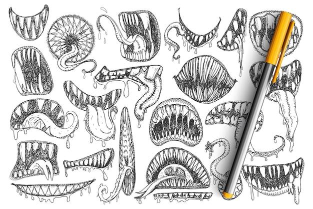 Dents Effrayantes Et Ensemble De Griffonnage De Bouche. Collection De Bouche Effrayante Dessinée à La Main, Dents, Langue Comme Serpent Ou Comme Tatouages Isolés Vecteur Premium