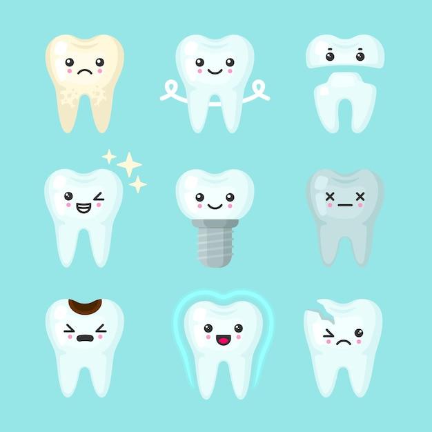 Dents Mignonnes Colorées Avec Différentes émotions. Différentes Conditions Dentaires. Vecteur Premium