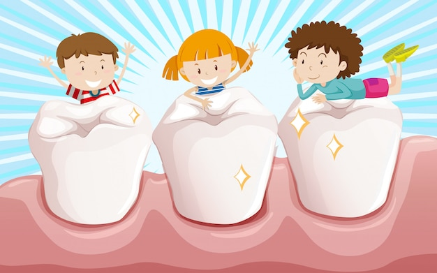 Dents propres et enfants heureux Vecteur gratuit