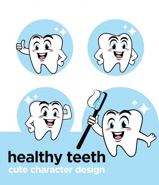 Dents saines avec un personnage mignon Vecteur Premium