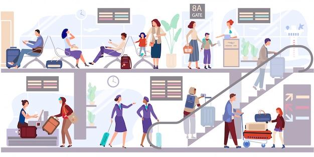 Départ Personnes Salon Au Terminal De L'aéroport. Les Passagers Enregistrent Les Bagages Et Attendent De Partir Près De La Porte D'embarquement. Vecteur Premium