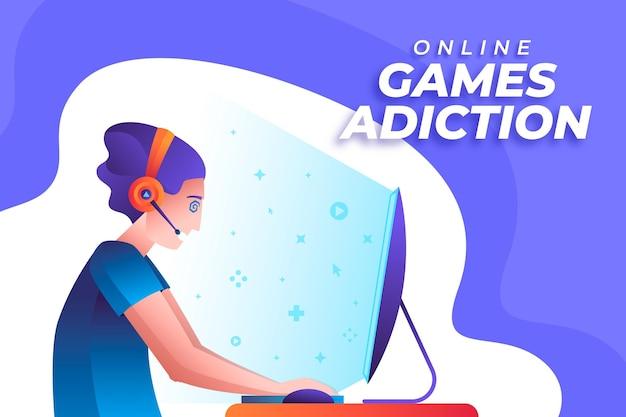 Dépendance Aux Jeux En Ligne Vecteur gratuit