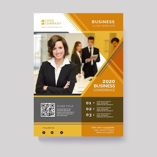 Dépliant d'affaires abstrait avec image Vecteur gratuit