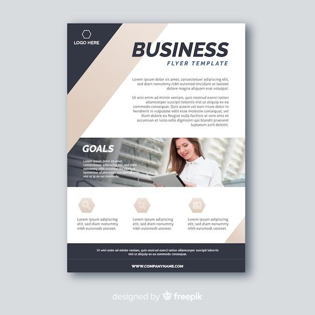 Dépliant d'affaires abstrait avec modèle de photo Vecteur gratuit