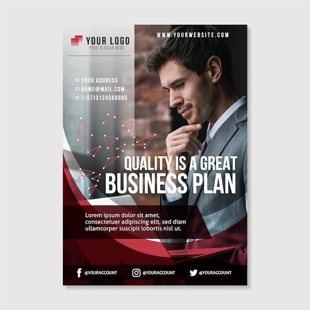 Dépliant d'affaires abstrait avec photo Vecteur gratuit