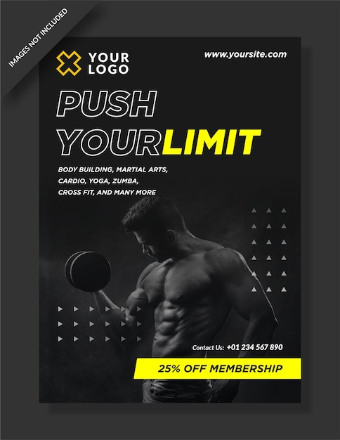 Dépliant D'affiche D'activité De Gym Push Your Limit Vecteur Premium