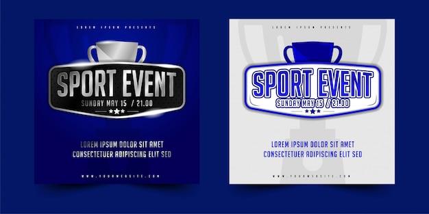 Dépliant, affiche ou bannière design événement sportif vectoriel avec une mise en page simple élégante Vecteur Premium