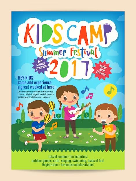 Dépliant d'affiche de camp d'été d'enfants Vecteur Premium