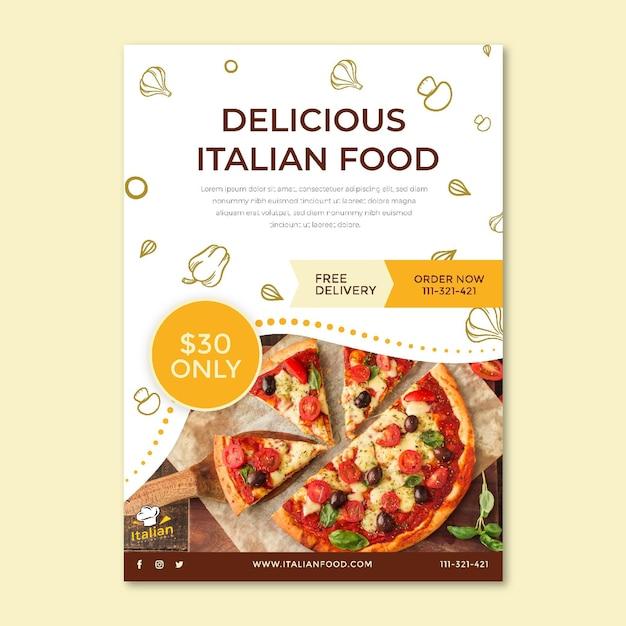 Dépliant Alimentaire Italien Vertical Vecteur gratuit