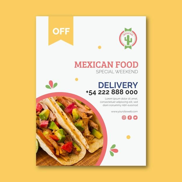 Dépliant Alimentaire Mexicain Vertical Vecteur Premium