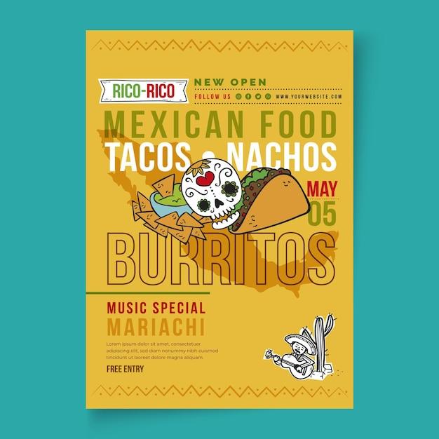 Dépliant Alimentaire Mexicain Vertical Vecteur gratuit