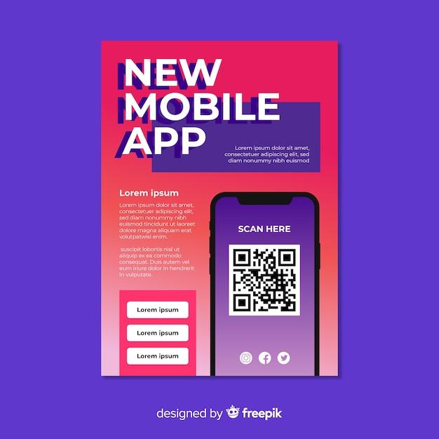 Dépliant de l'application de téléphonie mobile Vecteur gratuit