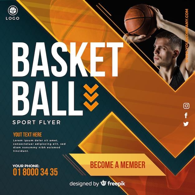 Dépliant de basket-ball Vecteur gratuit