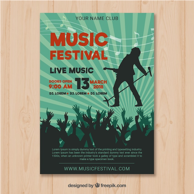 Dépliant du festival de musique avec public dans un style plat Vecteur gratuit