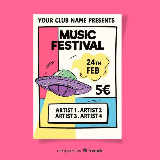 Dépliant du festival de musique Vecteur gratuit