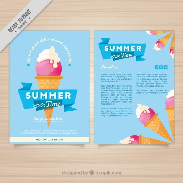 Dépliant enjoyable d'été avec de la glace Vecteur gratuit