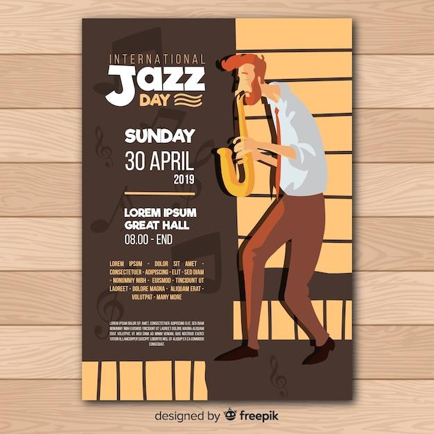 Dépliant journée internationale du jazz Vecteur gratuit